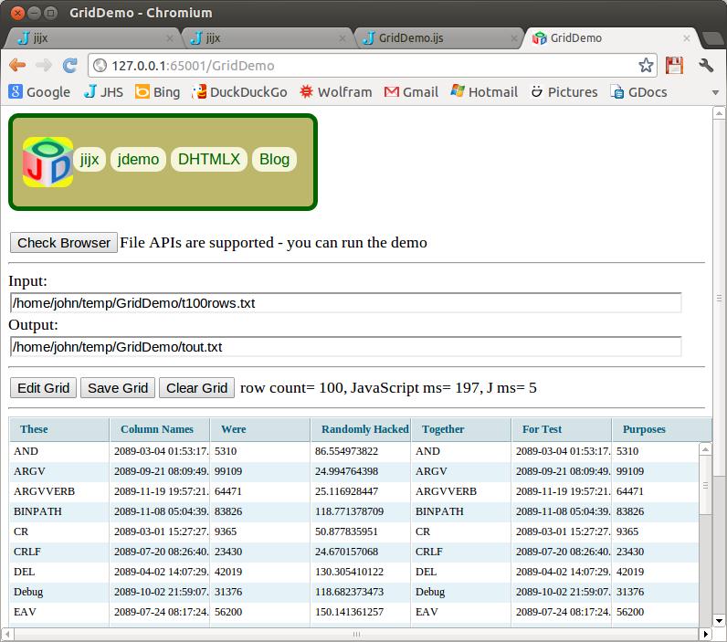 Screenshot of GridDemo running on Chrome