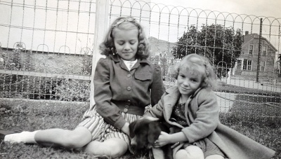 Evelyn and Alberta with puppy 1944.