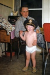 me in police hat and underpants