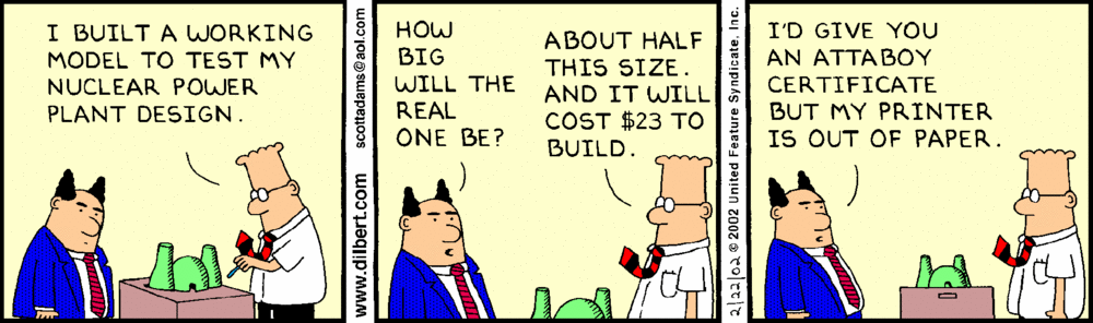 Dilbert almost gets an Attaboy