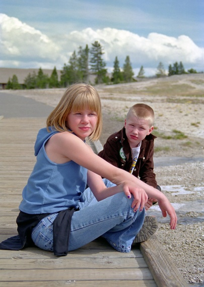 My kids waiting for Old Faithful